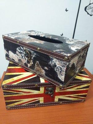 台灣現貨 英國國旗皮革面紙盒 木質世界地圖 收納箱 米字旗 皮質 台北市