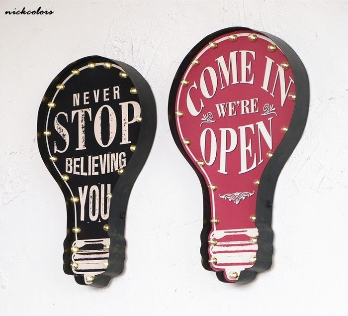 尼克卡樂斯 ~復古燈泡造型LED燈壁掛裝飾 餐廳咖啡廳牆面掛牌 工業風led燈 擺飾牆飾 鄉村風