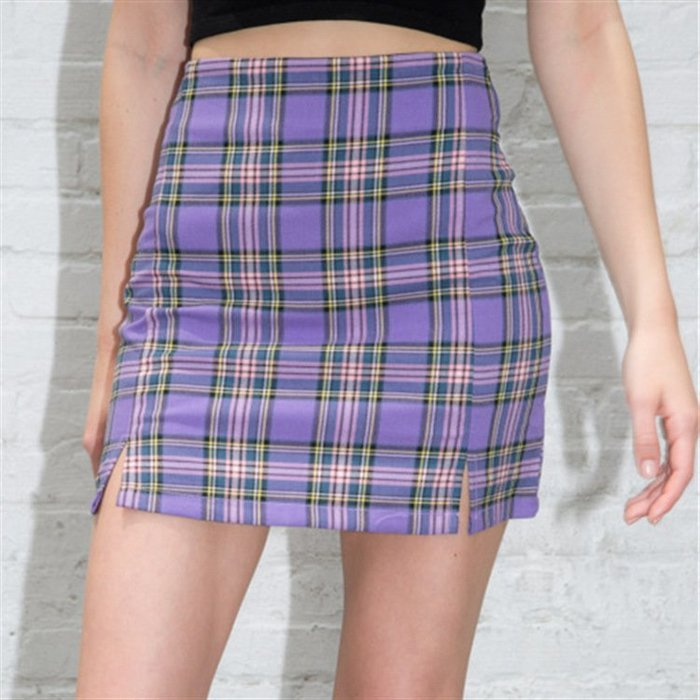 🔥🔥減齡學院BM紫色格紋小開衩包臀短裙 迷你裙