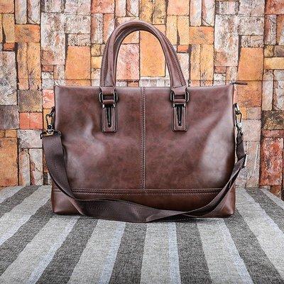 [包妳喜歡]男包男士手提包橫款商務公文包單肩斜挎包休閑潮軟皮電腦包008
