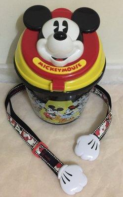 (二手)東京DisneyLand 米奇爆米花桶 經典米奇造型 黑色劇場圖案 圓桶 附背帶 容量2L