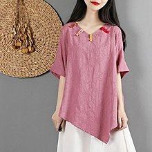 茶服 民族風復古文藝棉麻上衣女夏中國風寬鬆短袖-夜行依