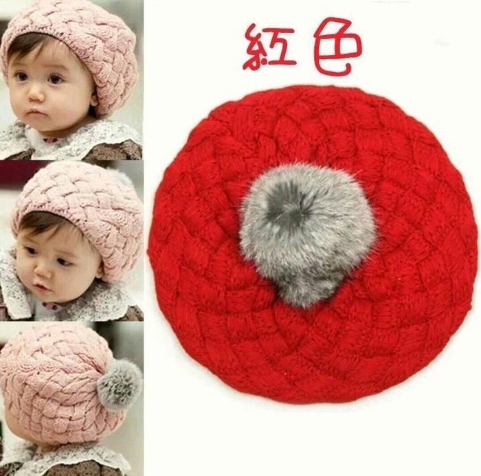 瞳瞳屋批發零售現貨韓版寶寶貝蕾帽 毛帽兔毛球球貓兒童帽寶寶貓針織帽