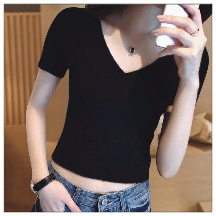 緊身黑色V領短袖女高腰短款t恤早春露臍上衣修身漏肚臍性感夏裝潮XKL1265
