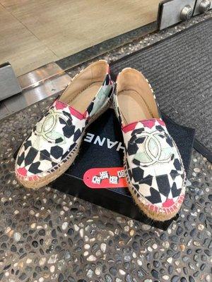 典精品 Chanel 全新 限量 杜拜 星星 塗鴉 雙C 帆布 espadrilles 鉛筆鞋 草編鞋 37 現貨