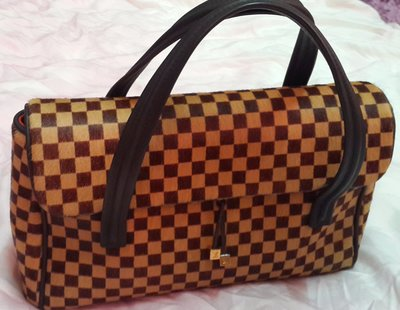 Louis Vuitton 路易威登/Second Hand Lv馬毛棋盤格紋翻蓋式手提包(大款)/M92131