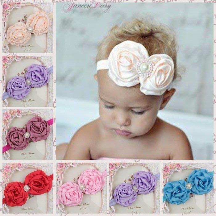 HM嬰幼館【Q231】 2015新款歐美兒童髮帶新生兒嬰兒寶寶髮帶女童女寶公主滿月百日週歲拍照攝影造型/珍珠水鑽花朵