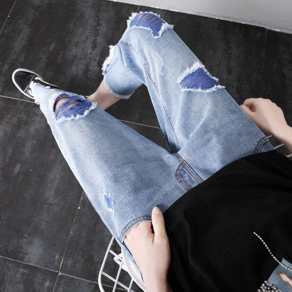 【愛天使孕婦裝】92312最潮 破洞款孕婦牛仔褲 孕婦褲(可調腰圍)