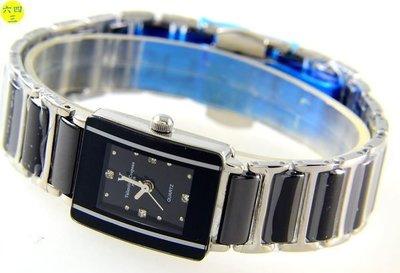 (六四三精品)范侖鐵諾(真品)真陶瓷錶帶.不銹鋼錶殼.蝴蝶雙開錶扣.精準錶..女黑!