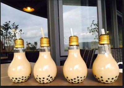 400ML款 金色開口蓋 電燈泡玻璃杯/飲料瓶/花瓶/擺飾/天氣瓶 創意燈泡玻璃杯飲料杯 珍珠奶荼