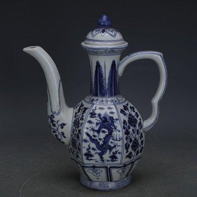 ㊣姥姥的寶藏㊣ 大明宣德青花手繪龍紋六方茶壺酒壺  出土古瓷器古玩收藏擺件