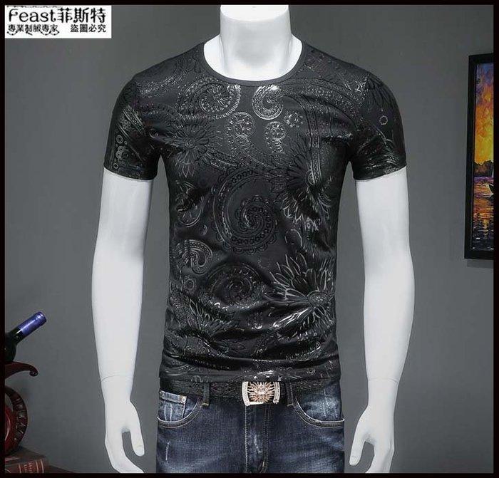 【Feast-菲斯特】-莫代爾暗花圓領T恤 夏天短袖小衫 夜店潮流靚仔男士半袖圓領衫 t恤T221
