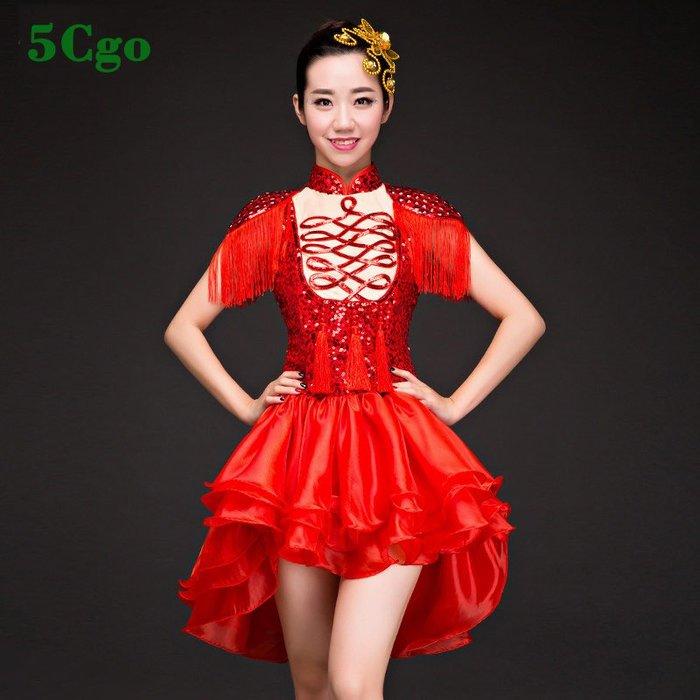 5Cgo【鴿樓】亮片爵士舞服裝女套裝衣服成人韓版青春現代舞演出服性感舞蹈服夏 552979737508