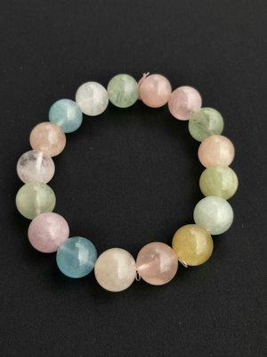 *薇婷小舖* 大顆!!! 12 mm 天然 海水藍寶、摩根石、綠柱石、金黃綠柱石 手珠