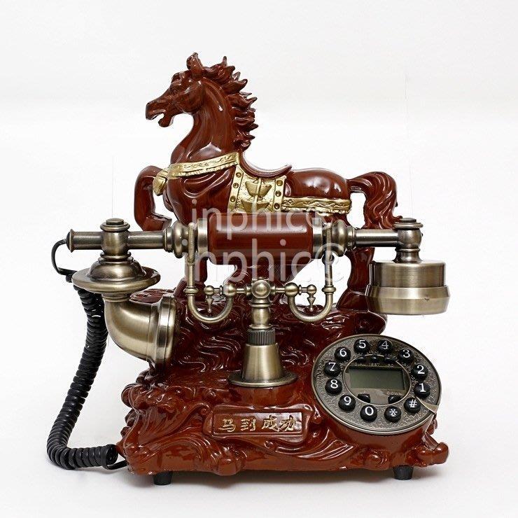 INPHIC-中式仿舊電話機 創意家用座式電話 別墅客廳固定電話