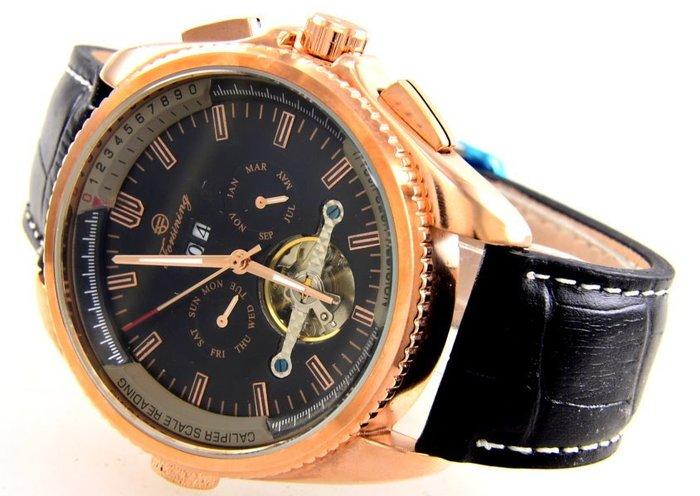 (六四三精品)超級大錶徑4.5公分.左右雙龍頭豪邁,複雜功能三眼五針.似陀飛.自動上鍊機械錶..金色殼