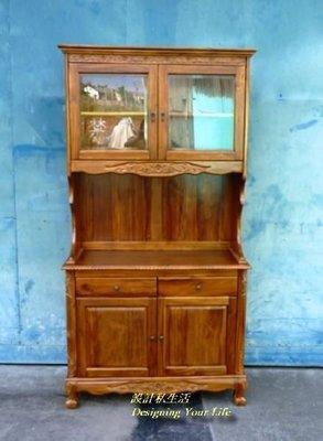 【設計私生活】柚木實木3.7尺四門二抽餐櫃、碗盤櫥櫃(全館一律免運費)