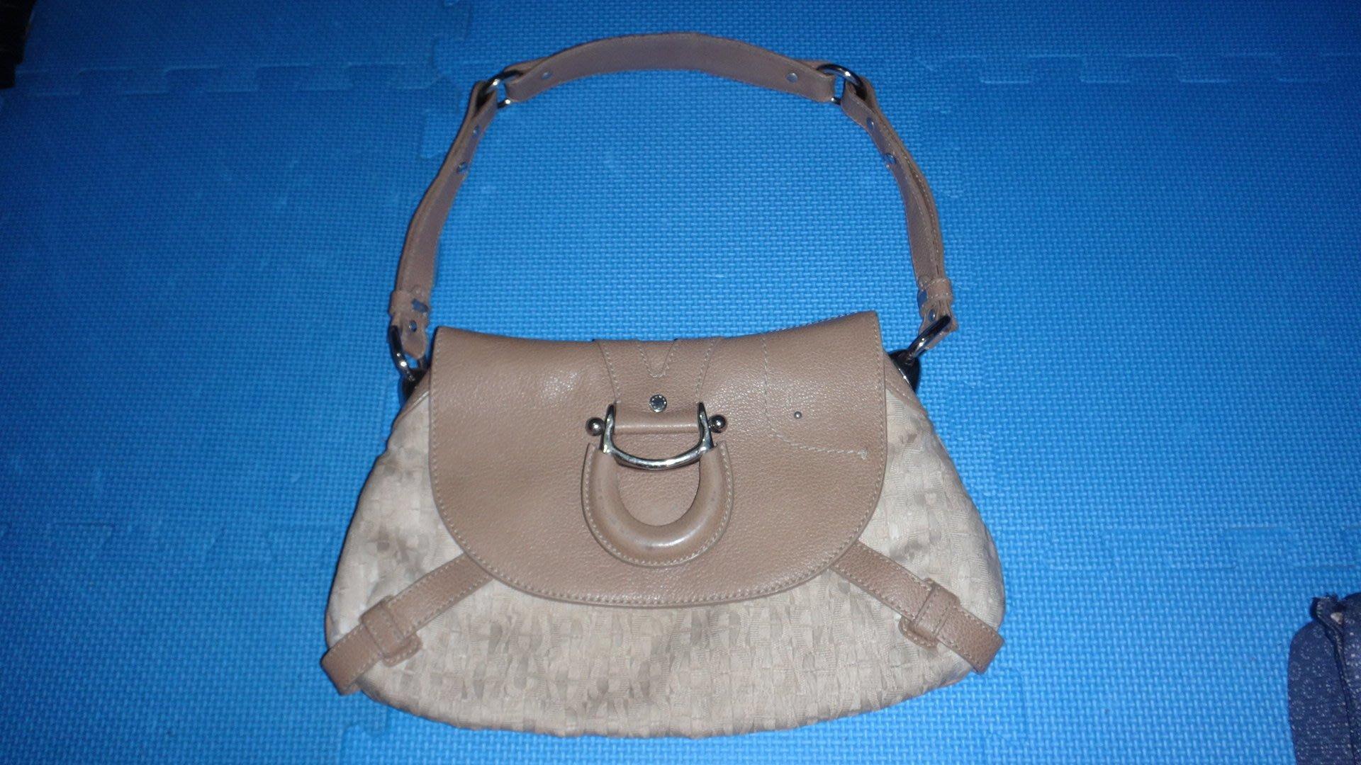 ~保證真品 Aigner 褐色單寧布和真皮款肩背包 大方包 手提包~便宜起標無底價標多少賣多少