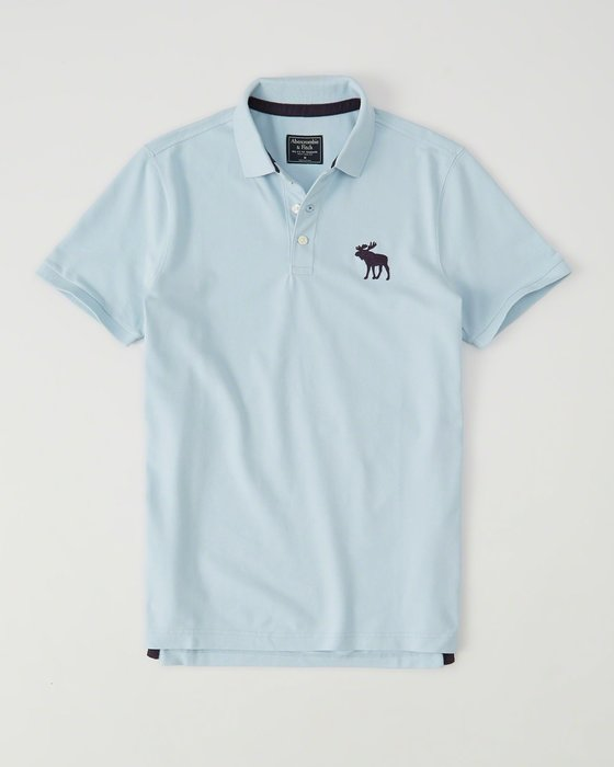 Maple麋鹿小舖 Abercrombie&Fitch * AF 水藍色電繡大麋鹿POLO衫*( 現貨S/L號 )