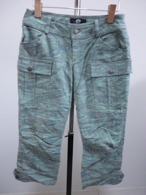 99元起標~WEALTH HONOR~迷彩設計七分褲~綠色~SIZE:S