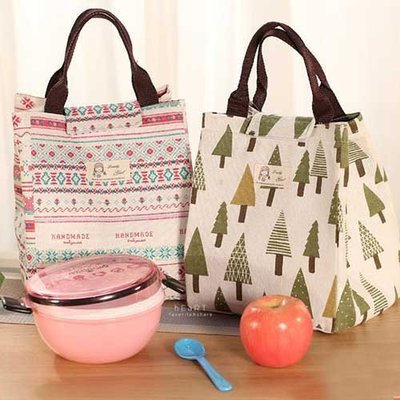 【可愛村】 田園棉麻布藝便當保溫手提袋 保溫袋 手提袋 便當袋