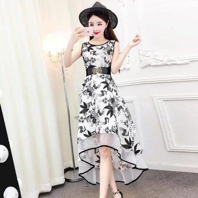 格格家 夏裝新款高腰無袖復古優雅氣質不規則連衣裙收腰蕾絲A字裙