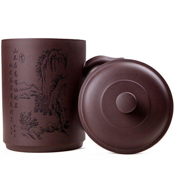 5Cgo【茗道】含稅會員有優惠 37332010116 紫砂杯紫泥手工細刻山高杯紫砂茶杯蓋杯子茶具馬克杯