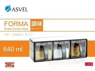 【PO776038】ASVEL-FORMA 1121 不鏽鋼三格調味盒 黑《Midohouse》