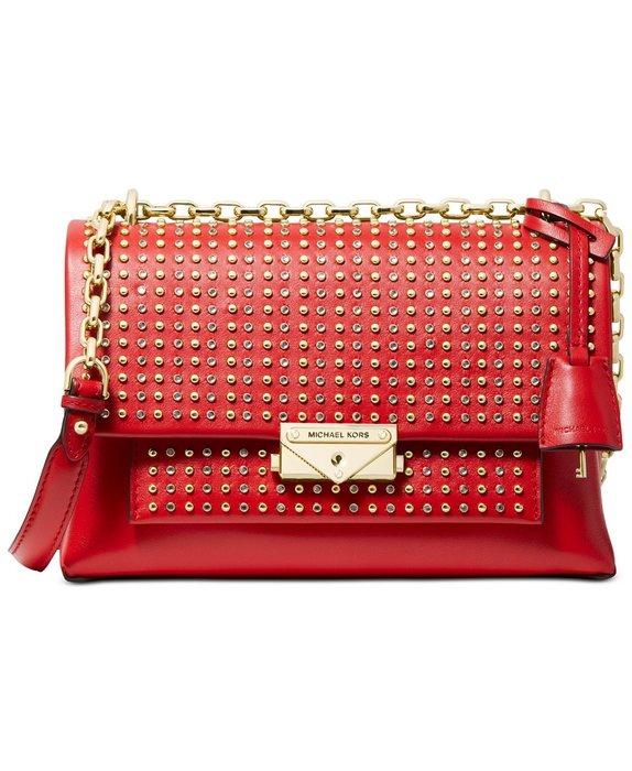 美國名牌 Michael Kors Shoulder bag 專櫃款鉚釘皮質金鍊高貴側肩包現貨在美特價$6980含郵