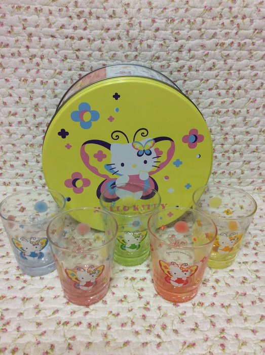 Sanrio hello kitty 蝴蝶玻璃杯杯組+鐡盒收納《日本製.2003年商品》特價出清