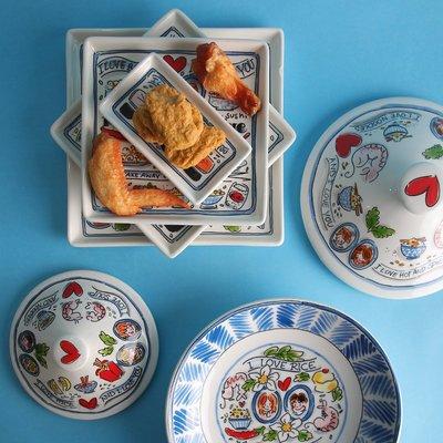 @家具坊 新款 爆款BLOND陶瓷水杯茶壺碗碟家用餐具荷蘭出口卡通亞洲系列套泡面碗盤