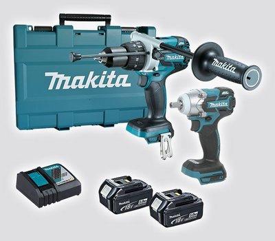 【花蓮源利】DTW300 雙3A 18V雙機組 Makita 牧田 套筒板手 + DHP481 震動電鑽 DLX2370