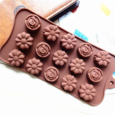 15連 新款玫瑰 巧克力模 矽膠 蛋糕...