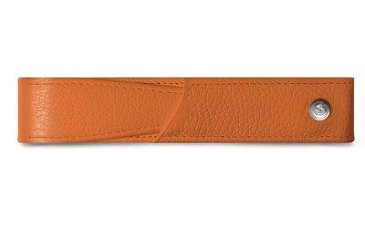 CARAN d'ACHE 瑞士卡達 橘色小牛皮單支筆套