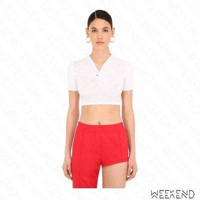 【WEEKEND】 PUSHBUTTON 扭結 短版 合身 短袖 T恤 上衣 白色