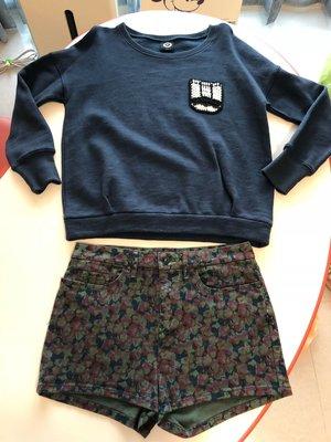(二手近全新)百貨專櫃品牌 agnes'b sport版 sportb 深藍色中厚長棉T+類迷彩短褲