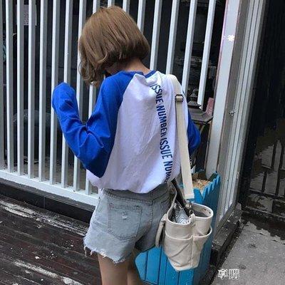 ZIHOPE 長袖T恤 寬鬆正韓學生百搭學院風後背印花拼色長袖T恤女打底衫上衣ZI812