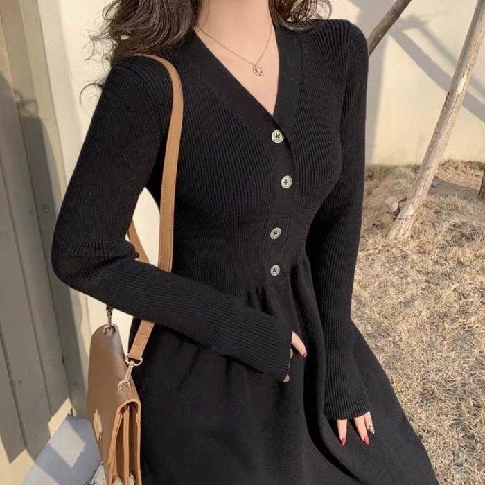 *Angel  Dance*長袖洋裝(黑色)@韓國 法式風情 復古 V領 配大衣 針織 收腰 A字裙 大尺碼@現貨+預購