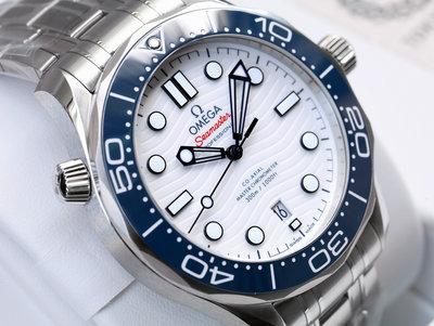 全新現貨 東京奧運海馬 OMEGA 歐米茄 手錶 機械錶 42mm 白面盤藍錶圈 52230422004001