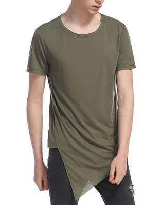 FINDSENSE MD 時尚 男 歐美 不規則斜下擺 大碼 休閒 運動短T 特色短T 短袖T恤