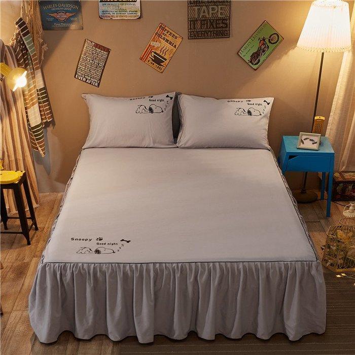 創意 可愛 床笠韓版純棉床裙四件套全棉簡約床罩式1.5/1.8m2.0米床笠款床上用品