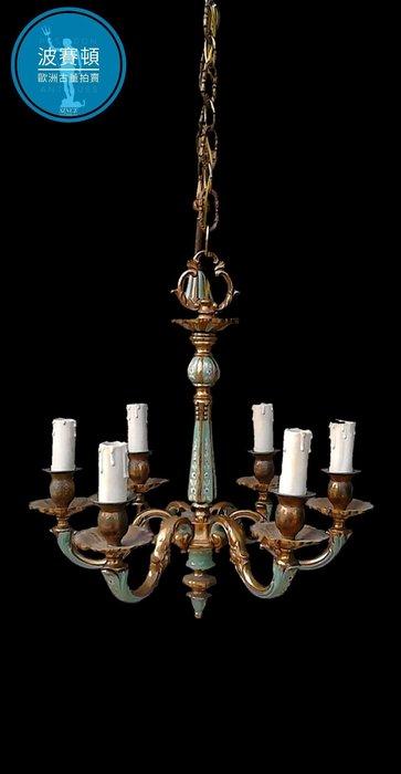 【波賽頓-歐洲古董拍賣】歐洲/西洋古董 意大利古董 19世紀 新藝術風格黃銅鎏金彩繪水晶吊燈/燭台6燈(高度:100公分) (年份:1930年)(已售出)