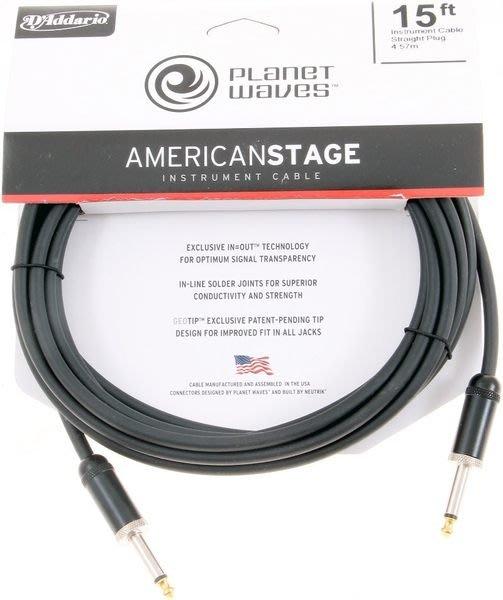 《民風樂府》美國製 PLANET WAVES PW-AMSG-15 15呎 專業樂器導線
