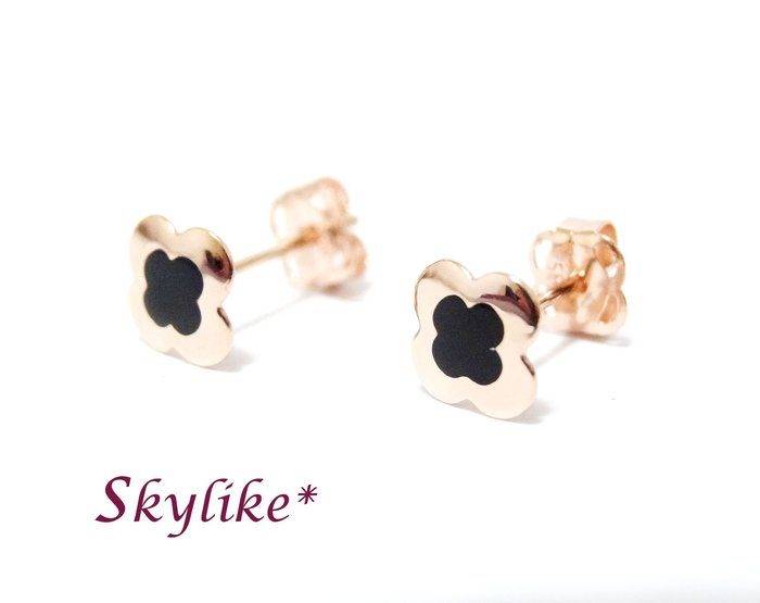 *SKYLIKE*單支購-最可愛韓國進口585/14K白K金、黃K金、玫瑰K金亮面名牌風小花耳針耳環,EJ-69259k