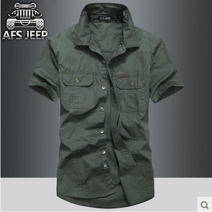 2018 新品AFS JEEP短袖襯衫男士純棉 大碼男裝夏天薄款襯衣