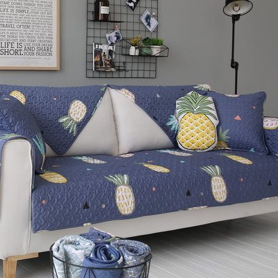 衣萊時尚 深色菠蘿全棉沙發墊布藝防滑四...