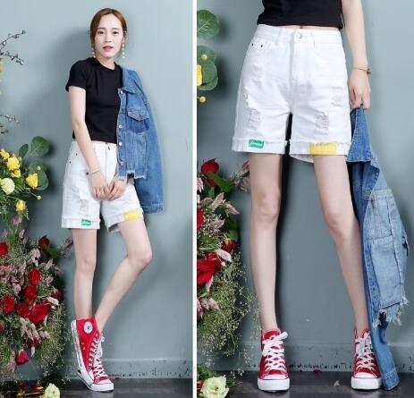白色牛仔五分褲學生bf夏季新款百搭韓版破洞休閒潮流 DN9130