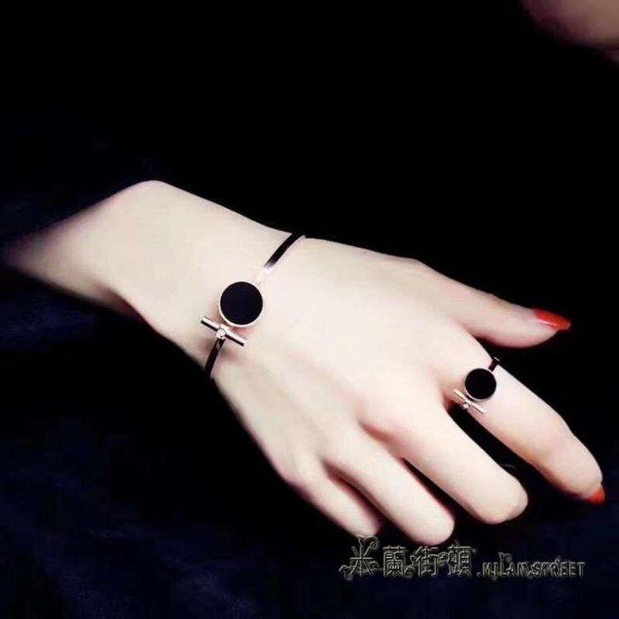 歐美個性圓牌手鐲女款鍍18K玫瑰金色手環日韓時尚潮人鈦鋼首飾品【】