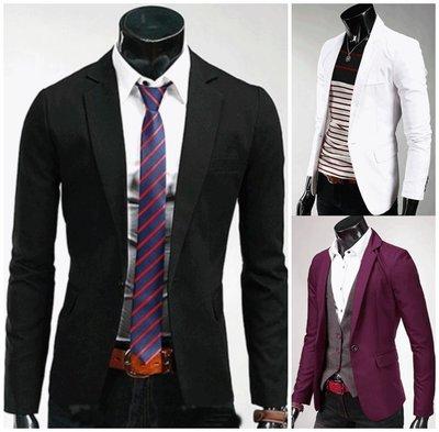 「韓瘋之子」《純色雅痞西裝》素面結婚西裝男 韓版修身西裝 休閒西裝外套男 商務西服 男西裝外套 白西裝 酒紅西裝 黑西裝