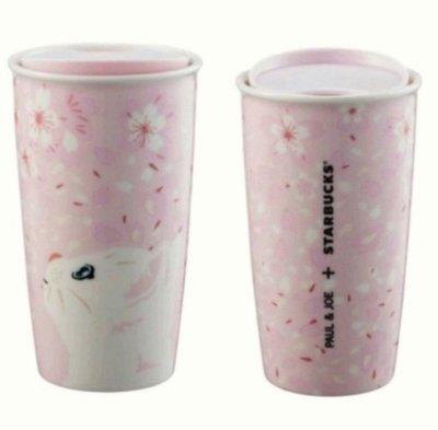 Starbucks 星巴克 x Paul & Joe 限量聯名商品 【粉色櫻花貓咪雙層馬克杯】kitty卡娜赫拉拉拉熊